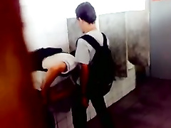 Few youngs in toilet making blowjob and jerking