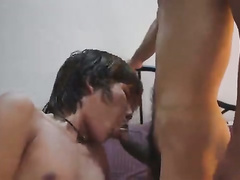 Two awesome twinks watch porn and jerk off