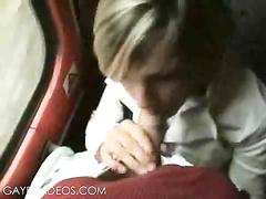 Blonde me boy gets a public blowjob on a train!