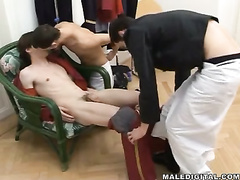 Passionate kissing makes sensual boy faint