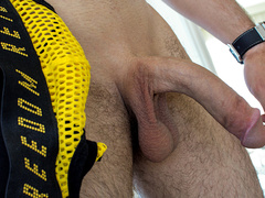 Guy sliding panty down and getting ass fucked