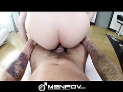 Bearded young gay dude got huge hairy dick