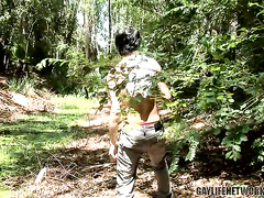 Masturbation and anal fuck outdoor in the woods