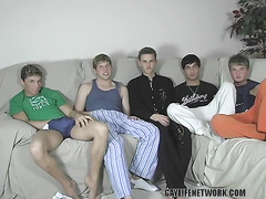 Five cute blond boys in an amazing group fuck