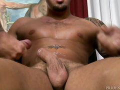 Twink with tight young body shape is blowing two tight dicks