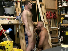 Hunk with gay haircut is sucking fat twink's big dick