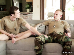 Hot army boys Brandon and Damien relax fucking