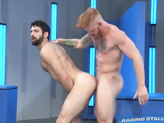 Two guys blowjob and hard doggy fuck