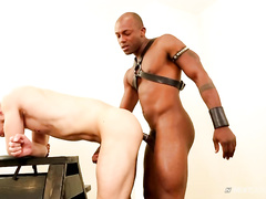 Black twink gets dressed in leather BDSM sex clothes and fucks white gay