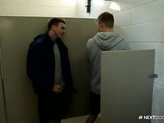 Twink cutie meets handsome gay in bathroom and invites him to his place