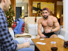 Bearded hunk is loosing card game and has to undress
