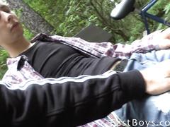 Gay with camera seduces cutie twink to have hot gay fun