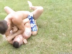 Young guys fighting and having gay session outdoor