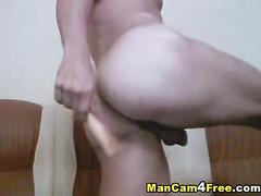 Strong man likes penis and anal masturbation