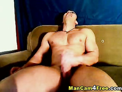 Wanking guy shows how much he loves orgasms